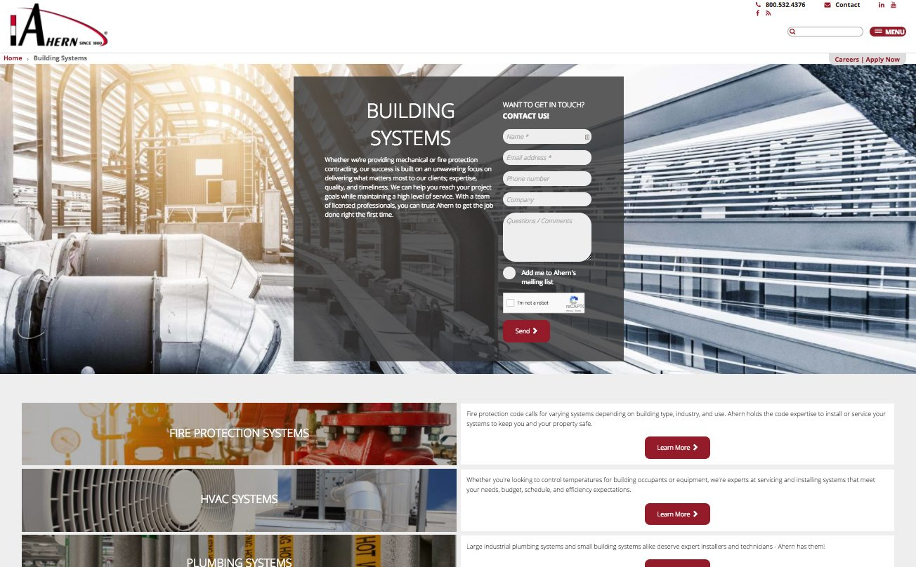 JF Ahern building systems webpage