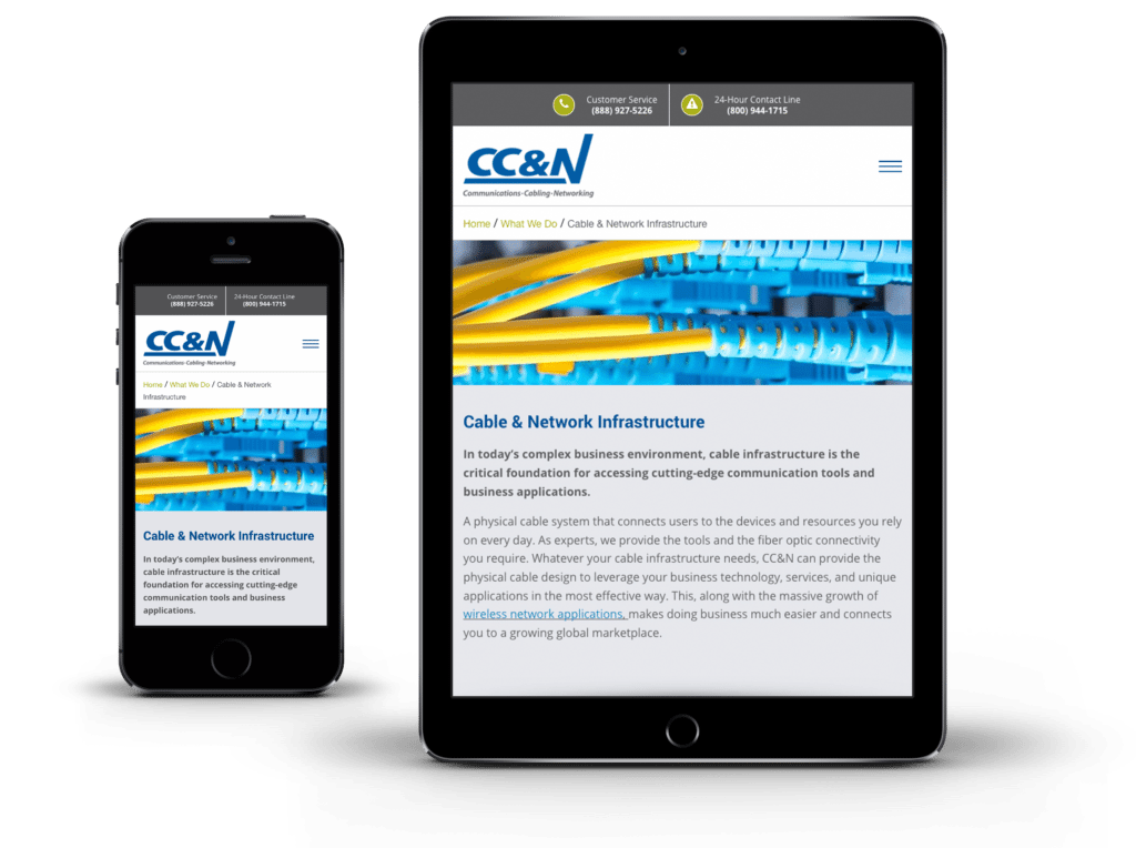 CC&N website on mobile and tablet