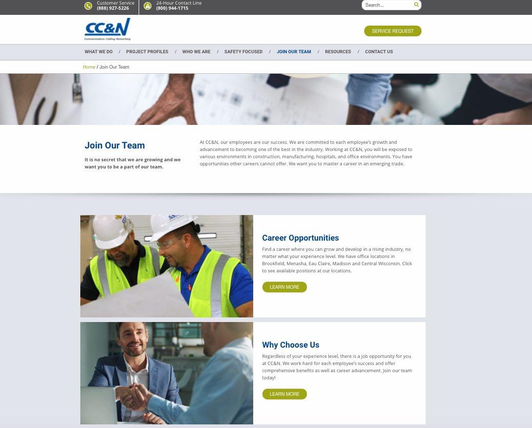 CC&N Careers webpage