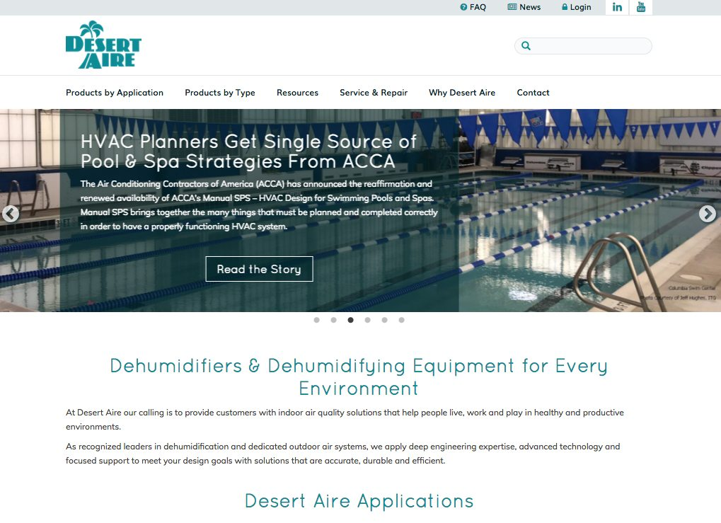 Desert-Aire website homepage