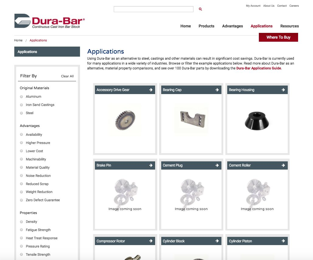 Dura-Bar applications webpage