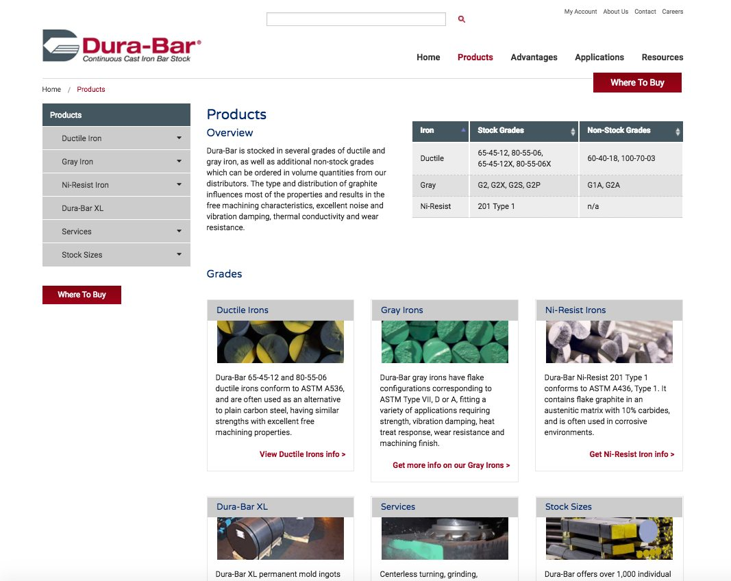 Dura-Bar products webpage