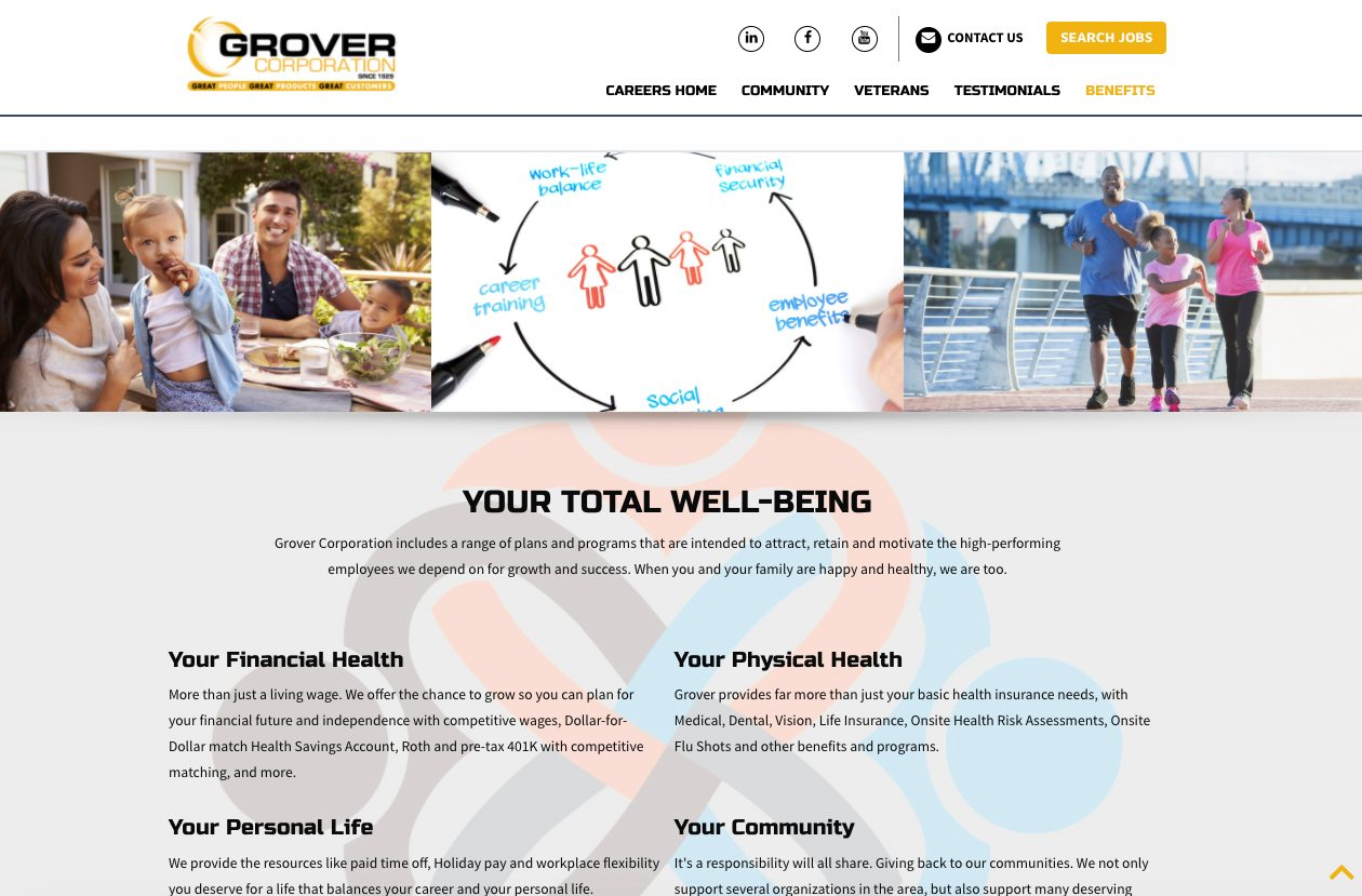 Grover benefits webpage