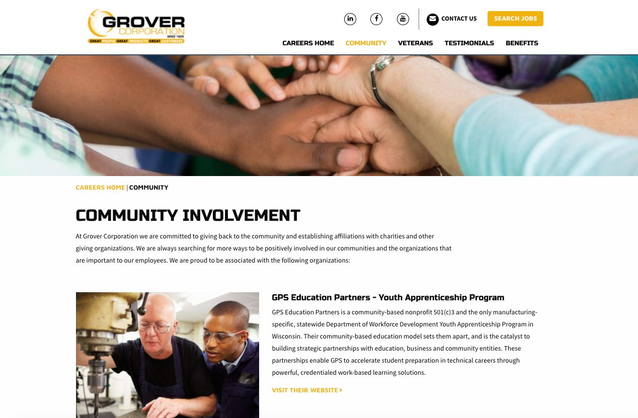 Grover Community involvement webpage
