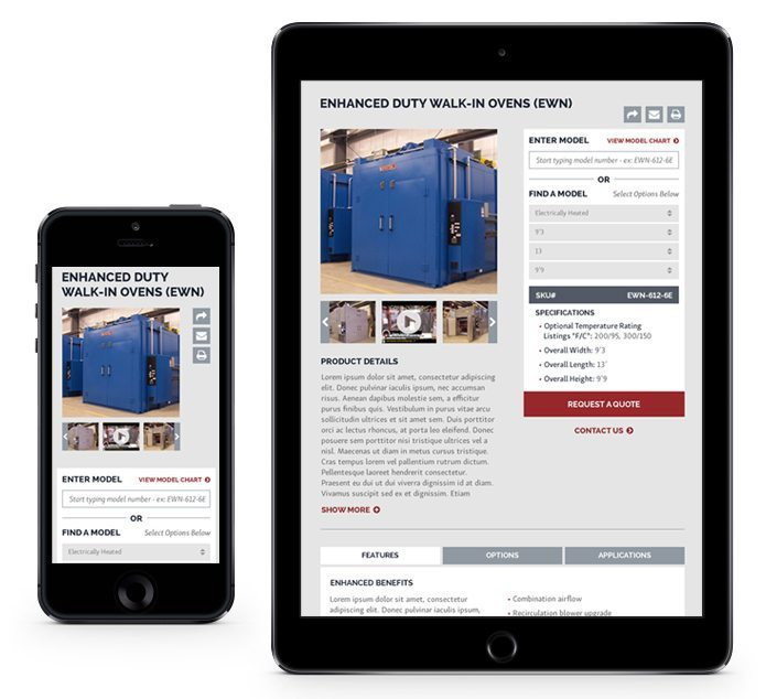 Wisconsin Oven website on tablet and mobile phone