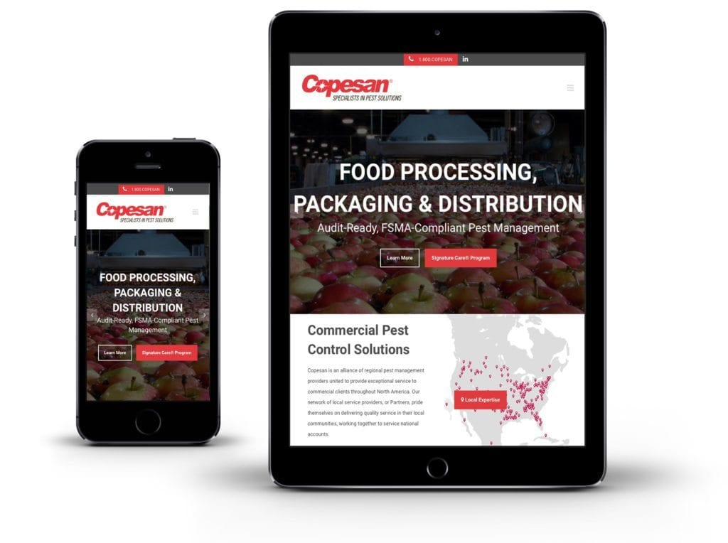 Copesan website on iPad and mobile