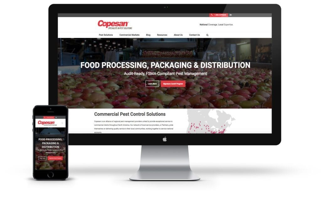 Copesan website on desktop and mobile