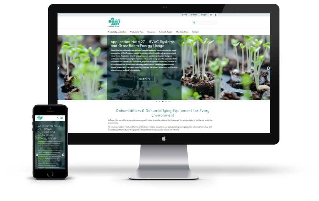 Desert Aire website on desktop and mobile