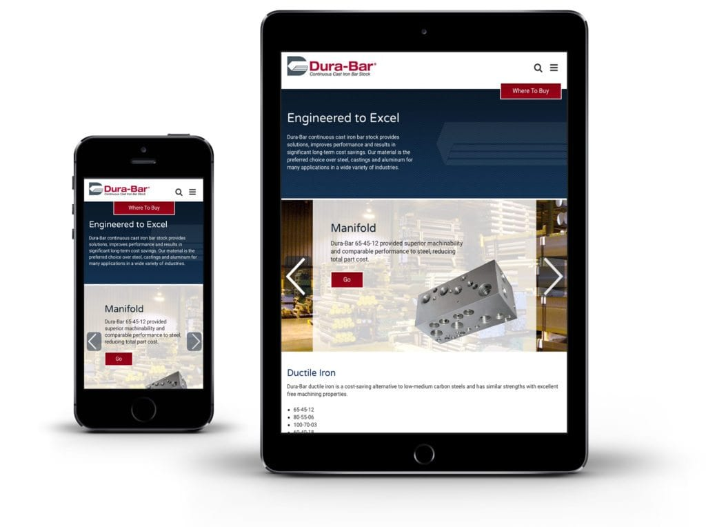 Dura-Bar website on mobile and tablet