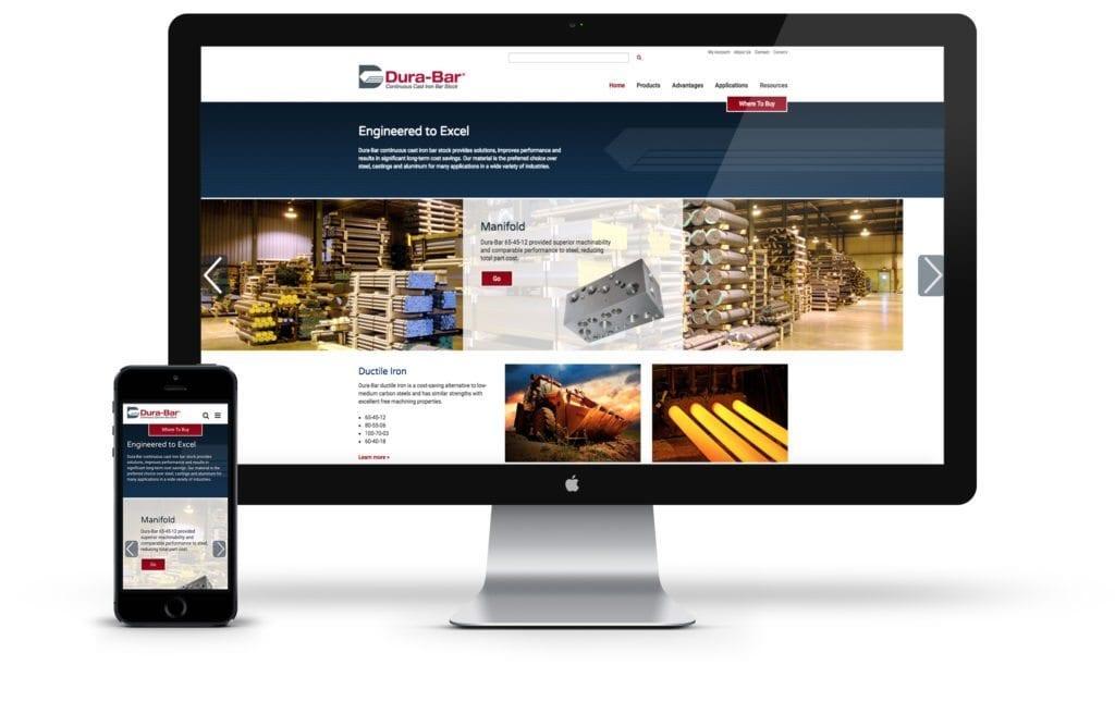 Dura-Bar website on desktop and mobile