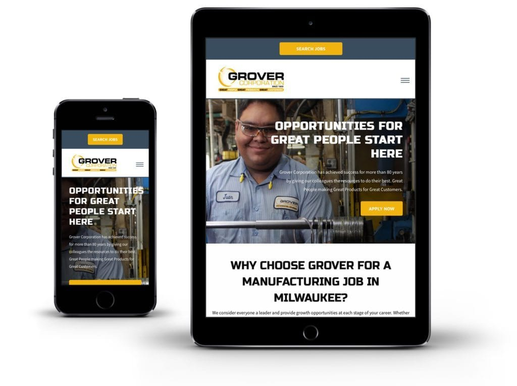 Grover Corporation website on tablet and phone