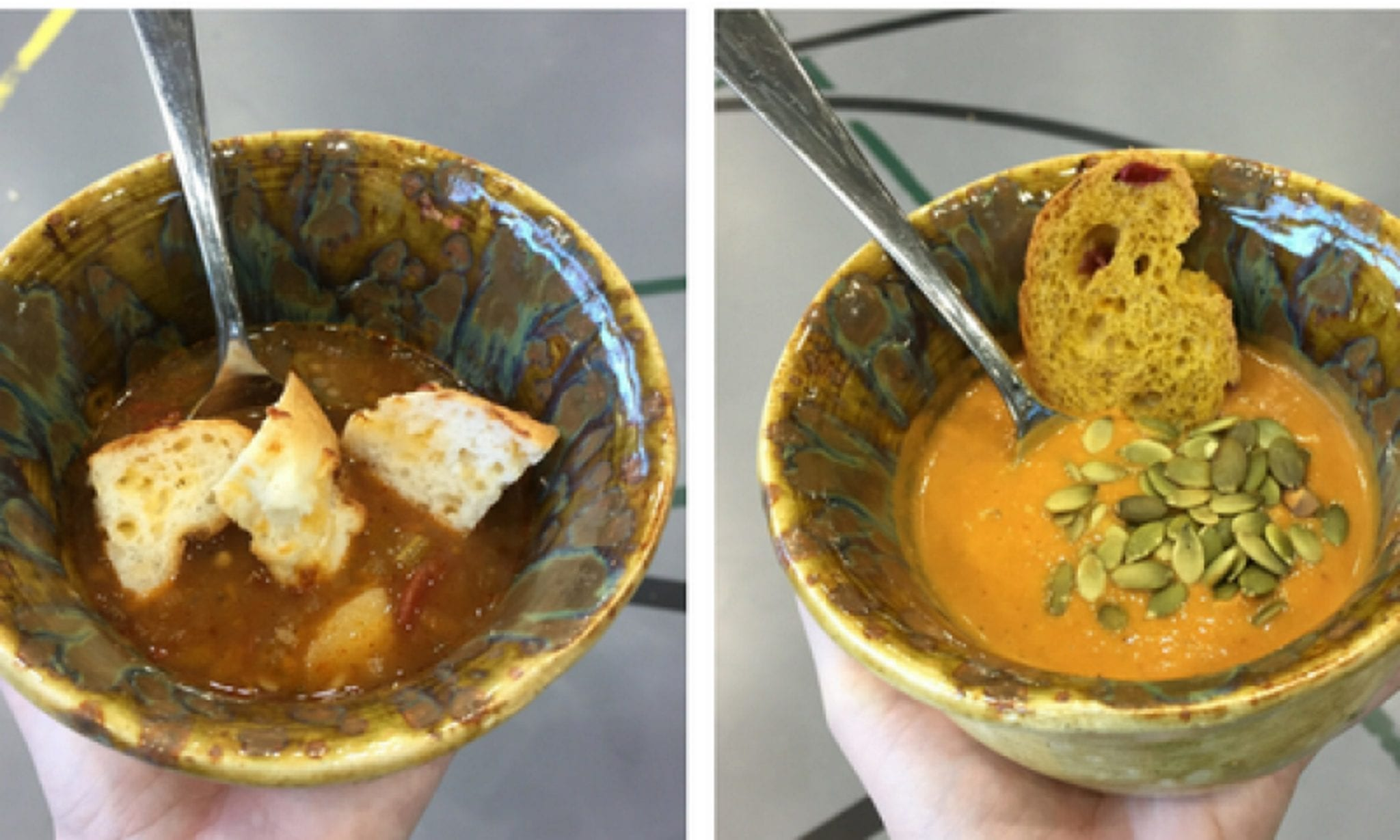 Soup bowls with soup