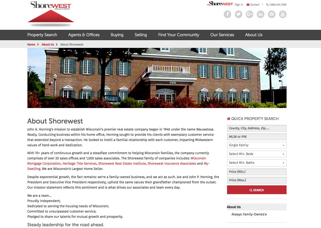 Shorewest About Us webpage