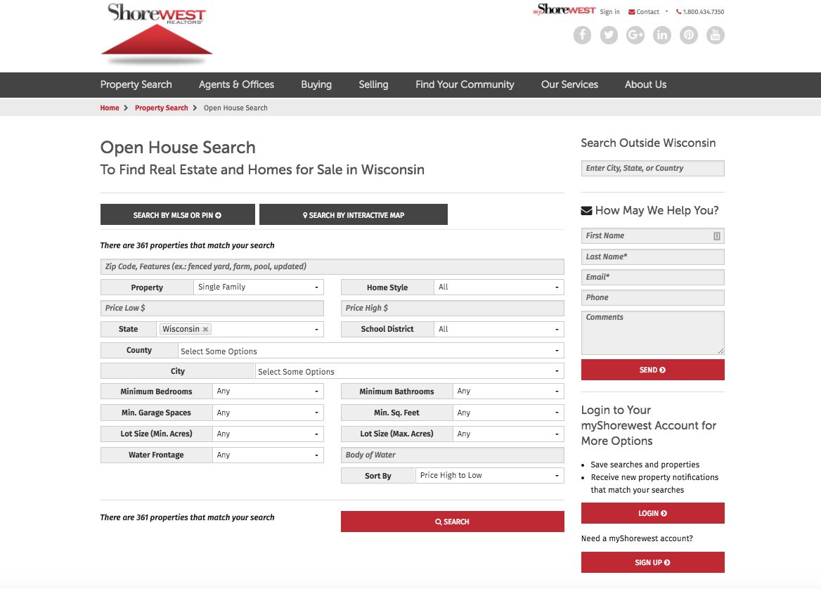Shorewest property search webpage