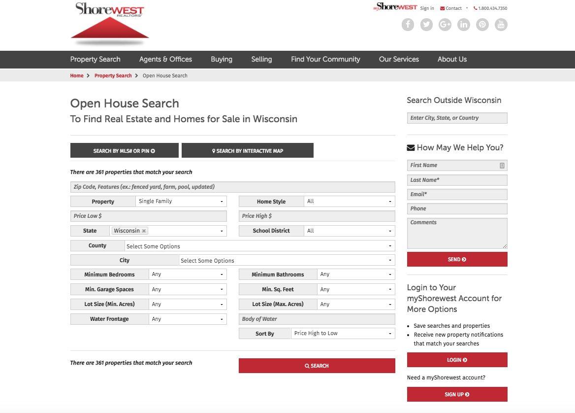 Shorewest property search webpage