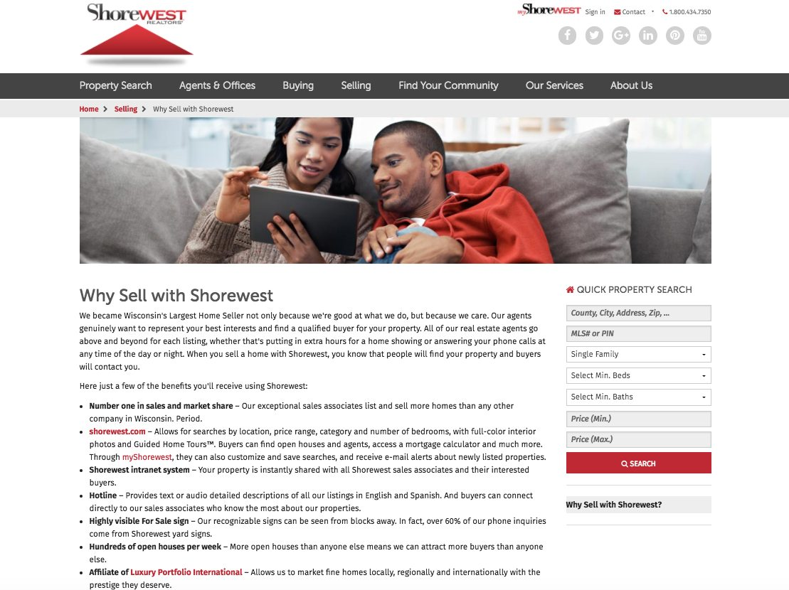 Shorewest selling webpage