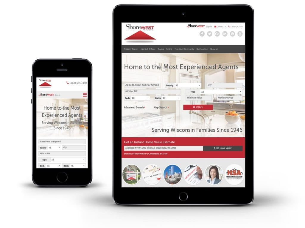 Shorewest website on tablet and mobile