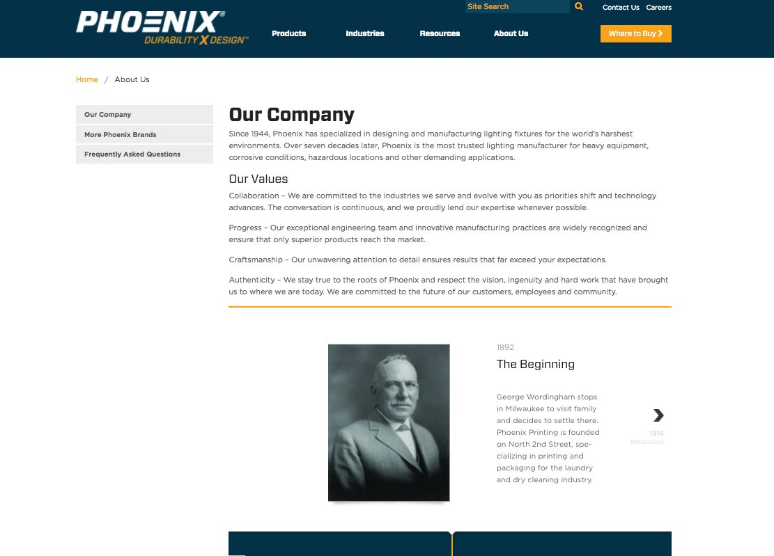 Phoenix Lighting About us Page