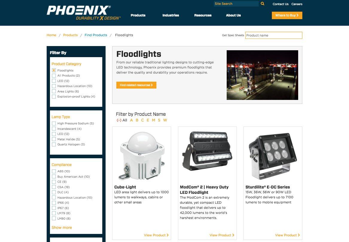 Phoenix detail webpage
