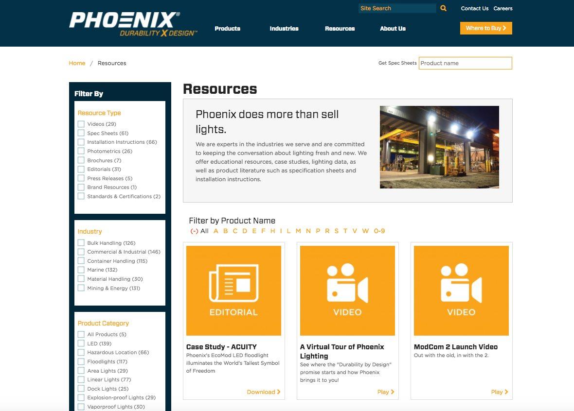 Phoenix resources webpage