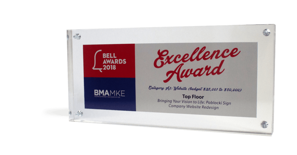 BMA MKE Bell Excellence Award Poblocki Sign
