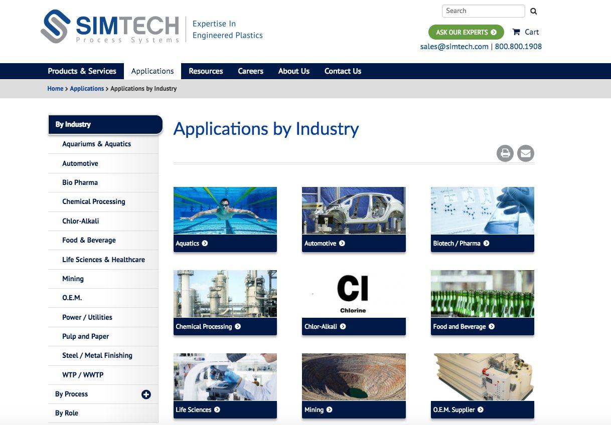 Simtech applications webpage