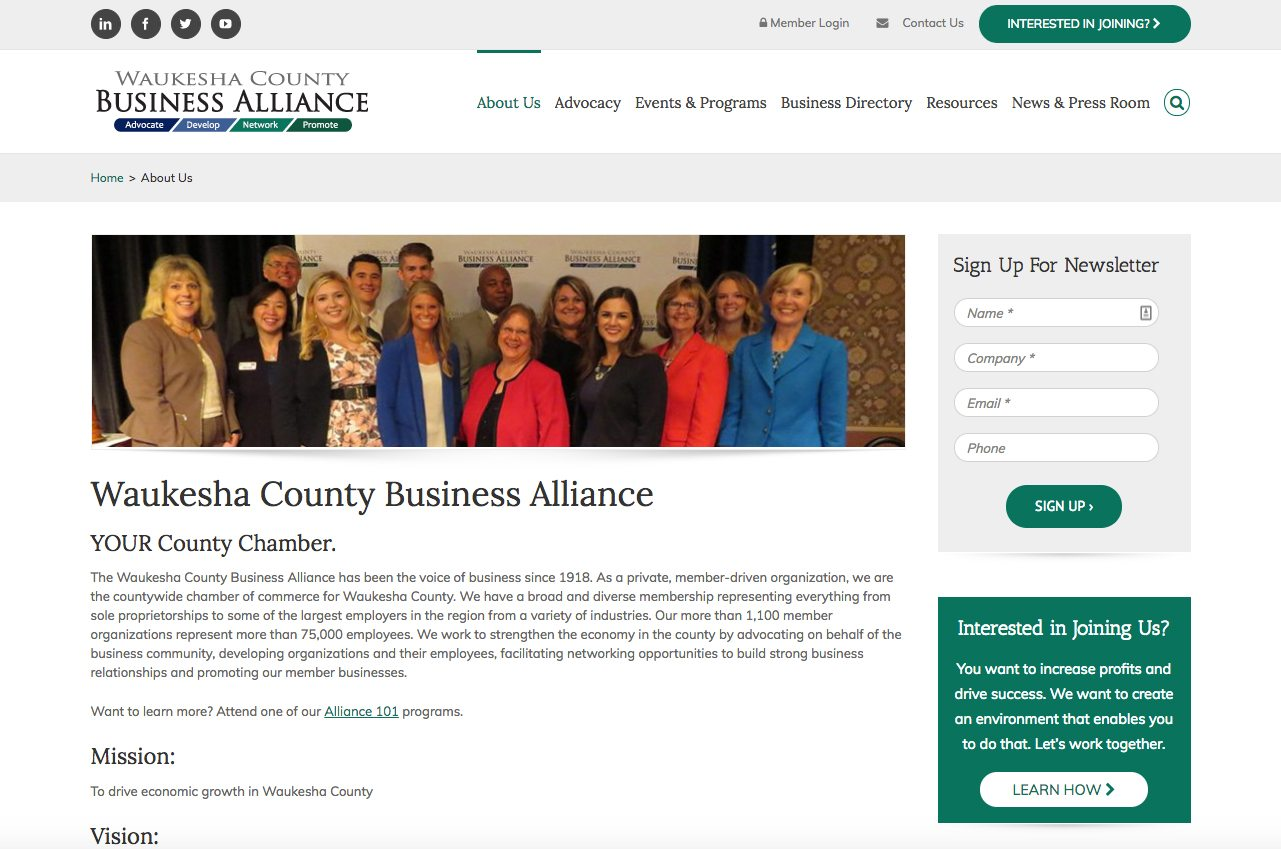Waukesha County Business Alliance about us webpage