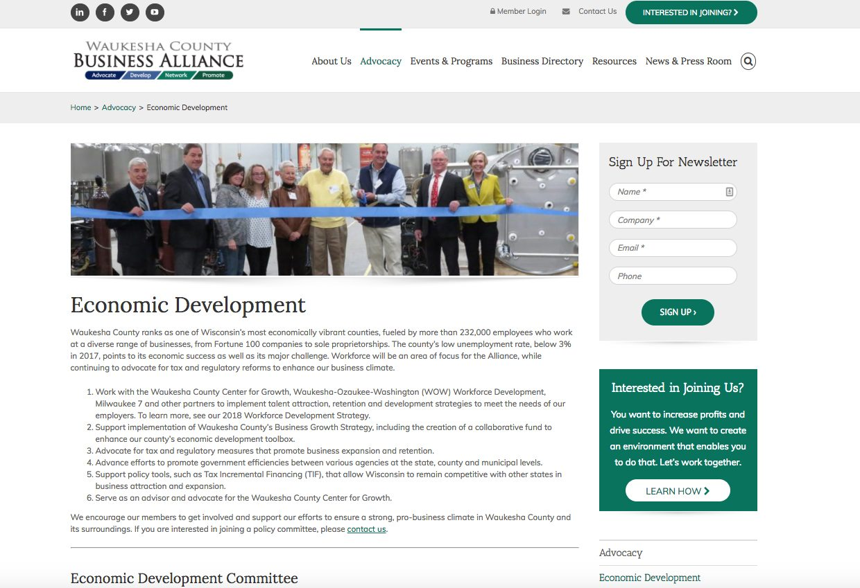 Waukesha County Business Alliance economic development webpage
