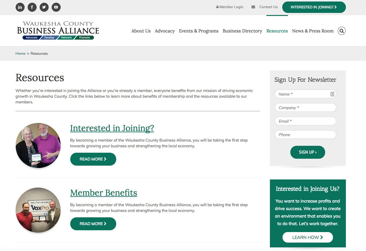 Waukesha County Business Alliance resources webpage