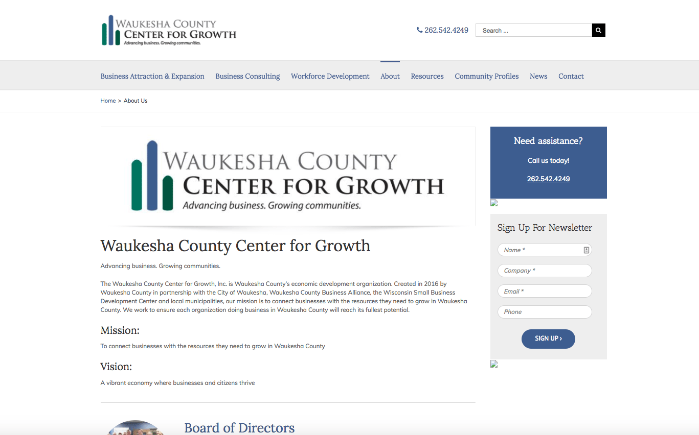 Waukesha County Center for Growth about us webpage