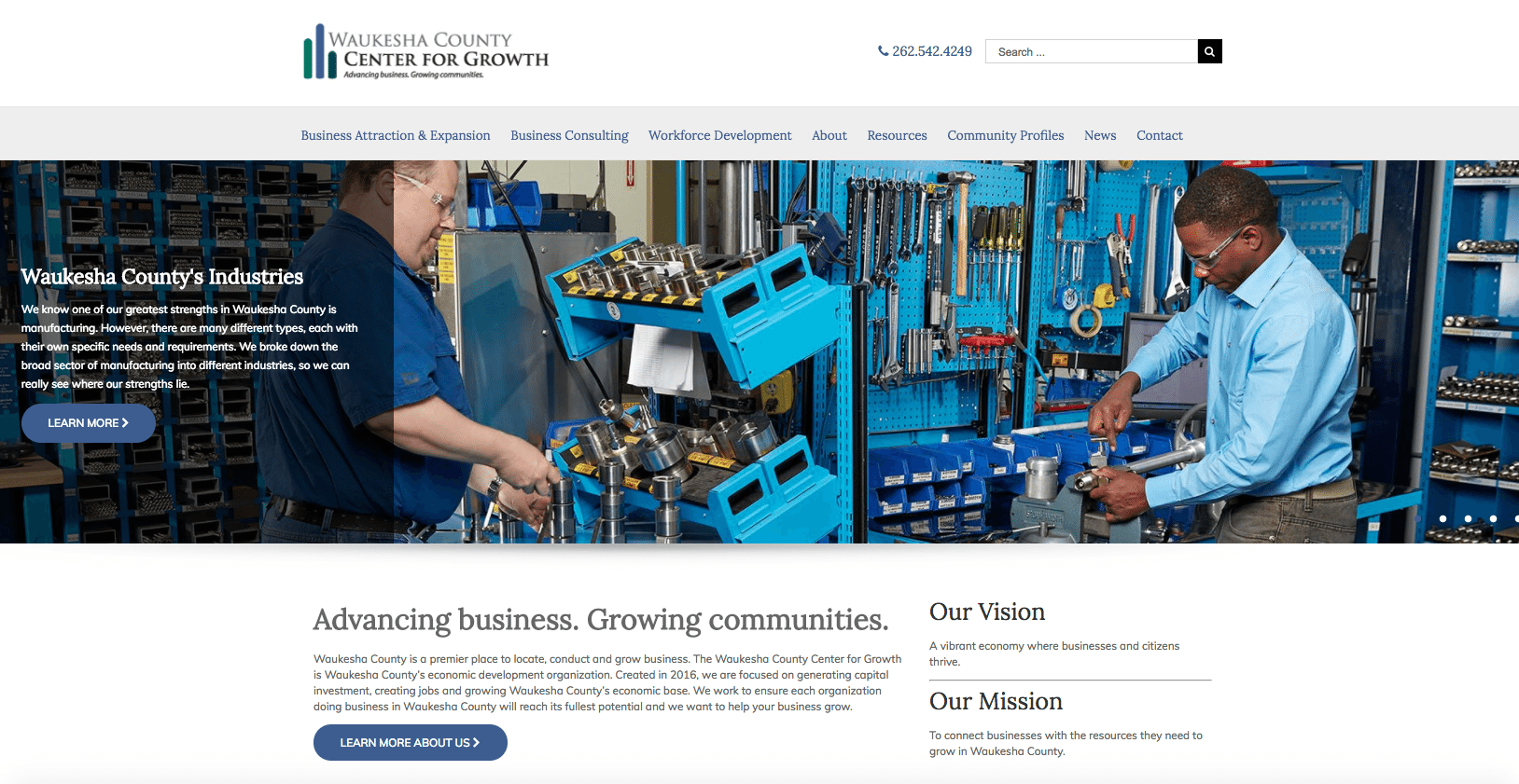 Waukesha County Center for Growth homepage