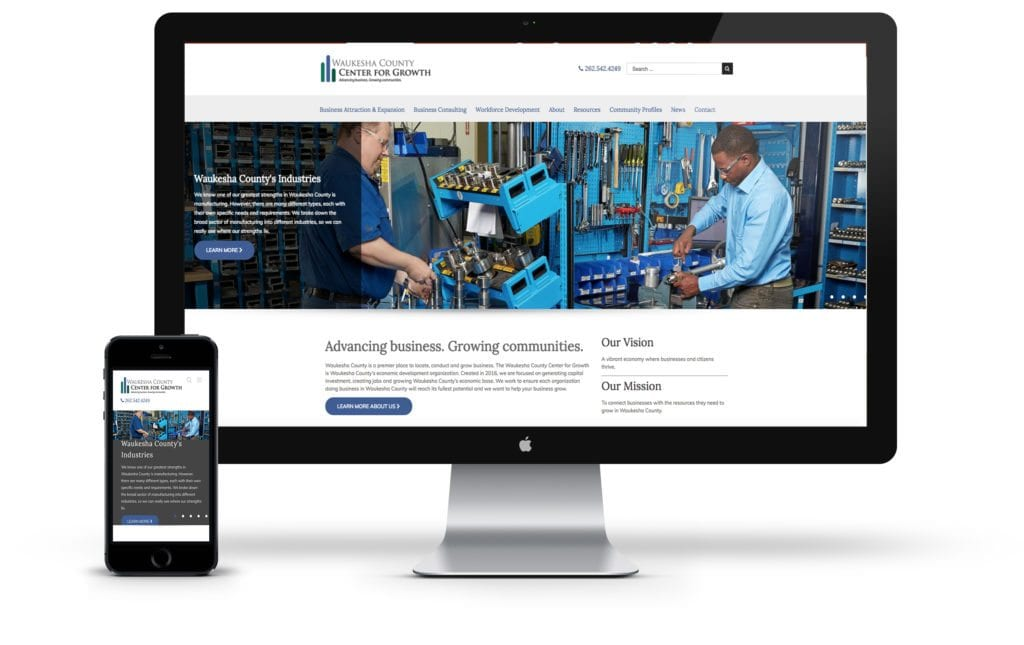 Waukesha County Center for Growth website on desktop and mobile