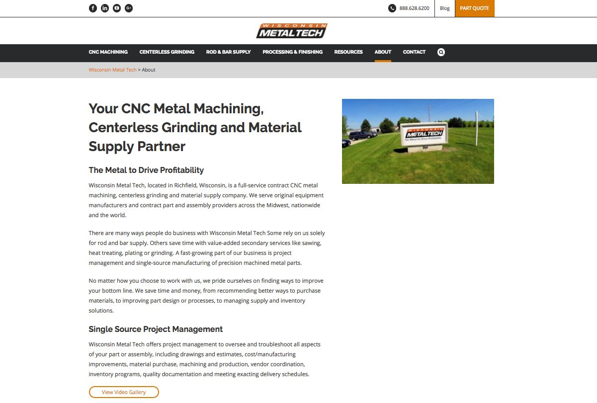 Wisconsin Metal Tech About Us webpage