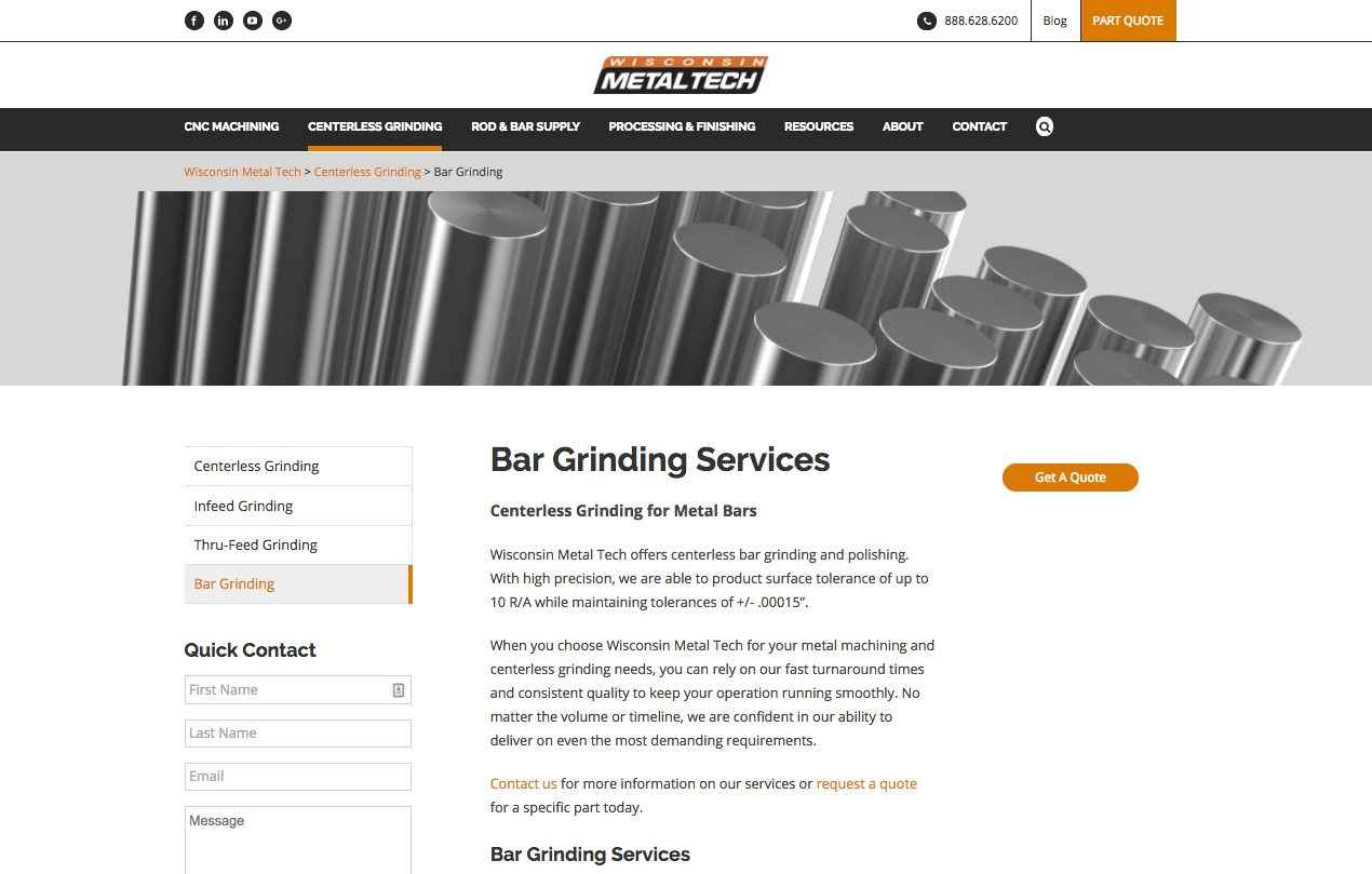 Wisconsin Metal Tech centerless grinding webpage