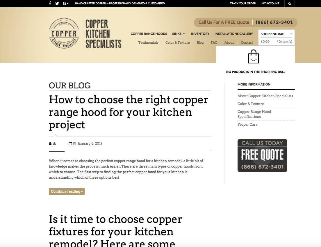 Copper Kitchen blog page
