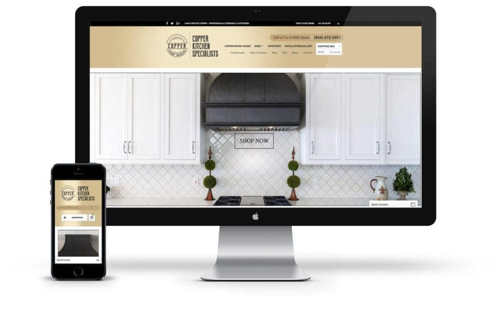 Copper Kitchen website on desktop and mobile