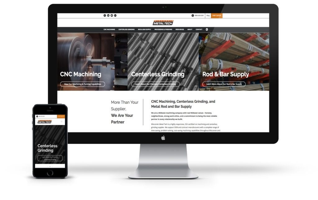 Metal Tech website on desktop and mobile phone
