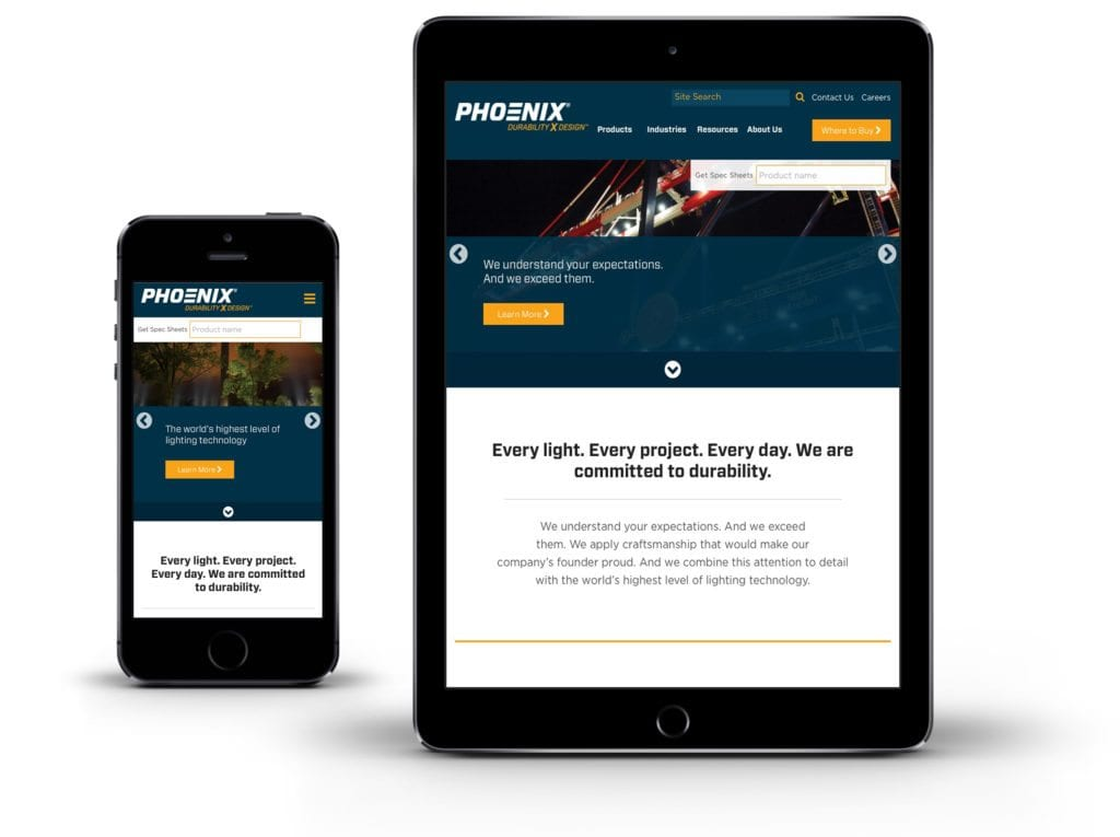 Phoenix website on tablet and mobile