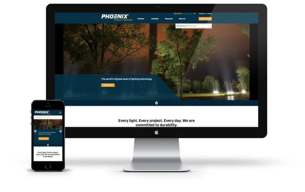 Phoenix website on desktop and mobile