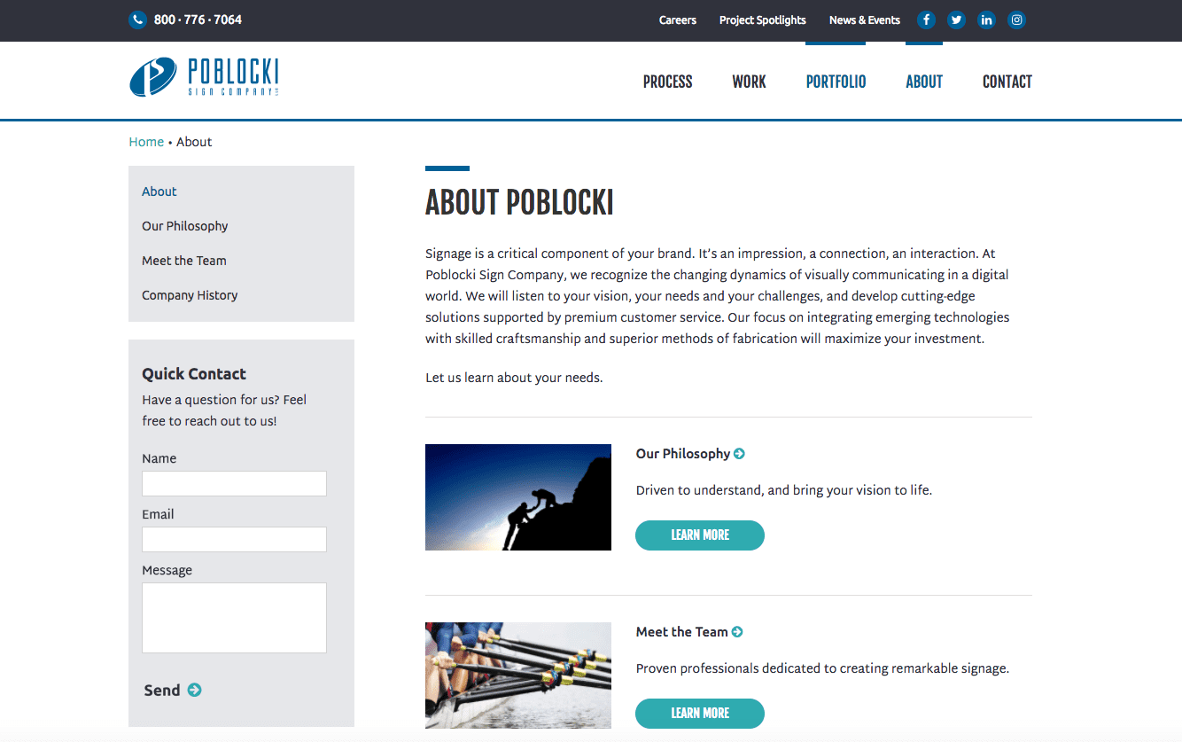 Poblocki about us page