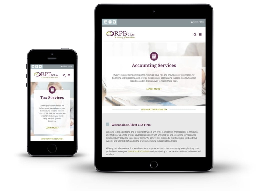 Reilly, Penner & Benton website on tablet and mobile phone
