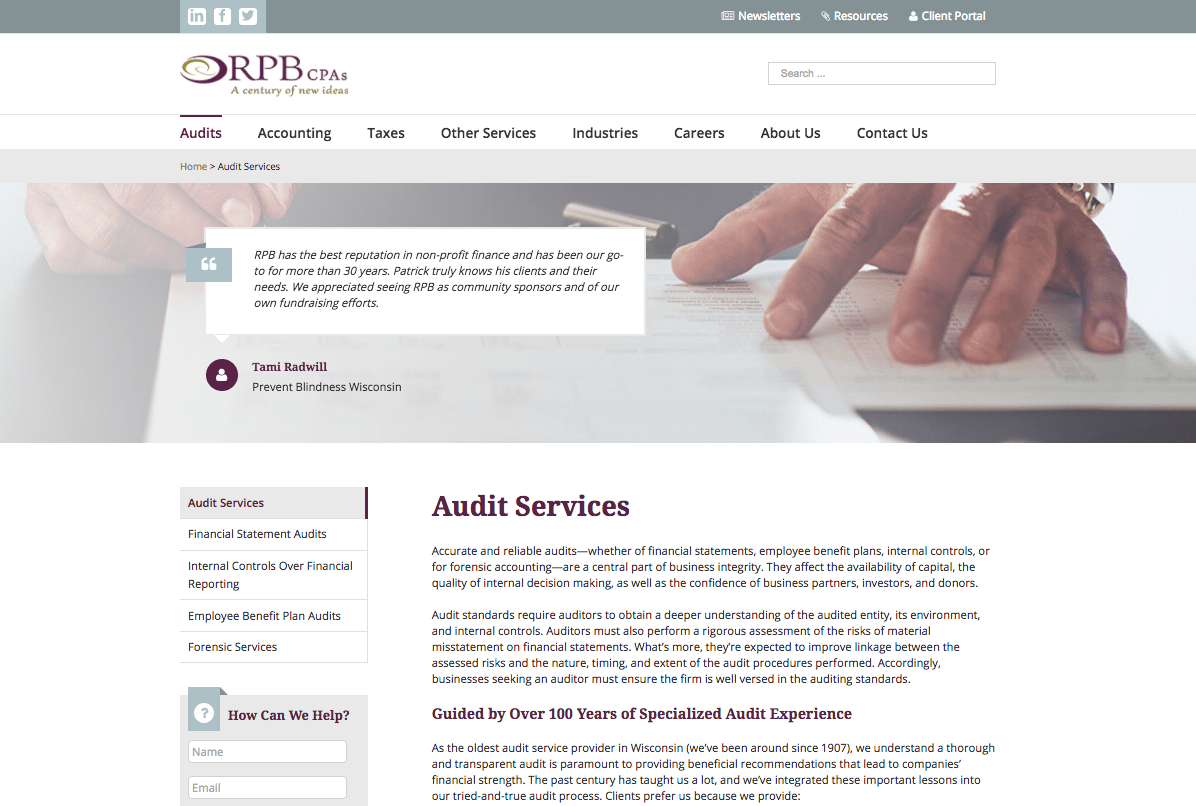 Reilly, Penner & Benton audit services page