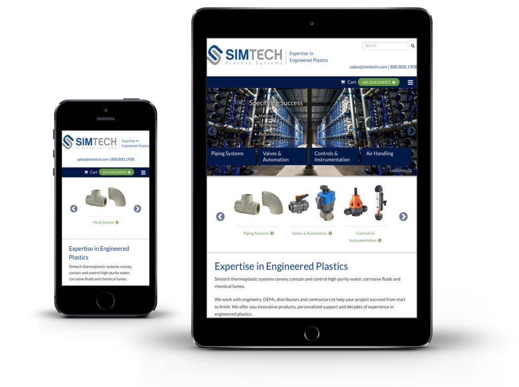 Simtech website on tablet and mobile