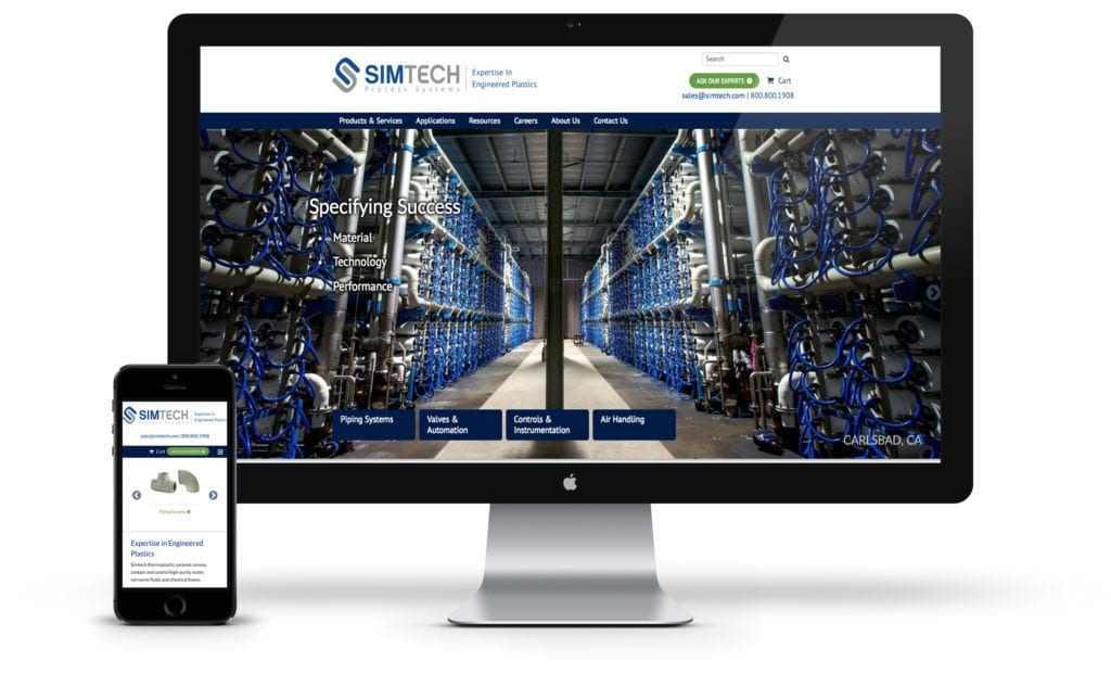 Simtech website on desktop and mobile