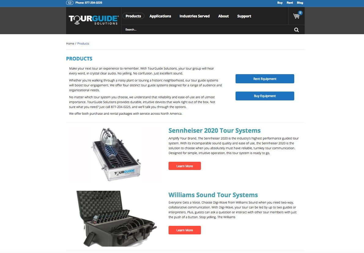 Tourguide Solutions products webpage