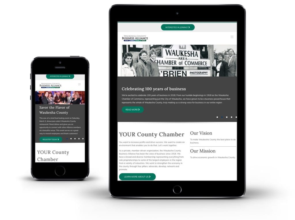Waukesha County Business Alliance website on tablet and phone