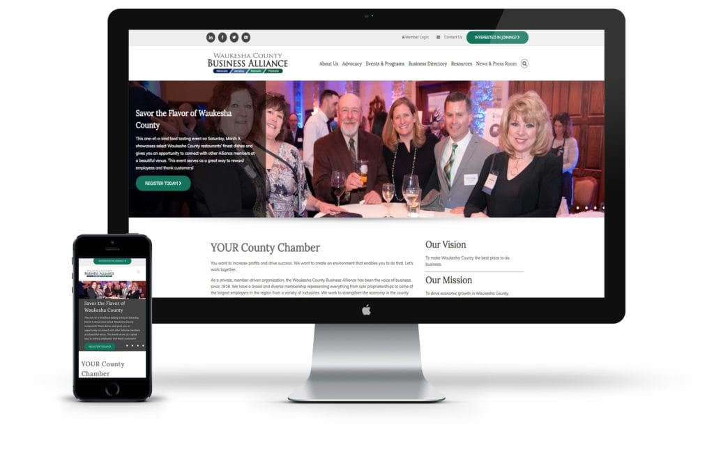 Waukesha County Business Alliance website on desktop and mobile