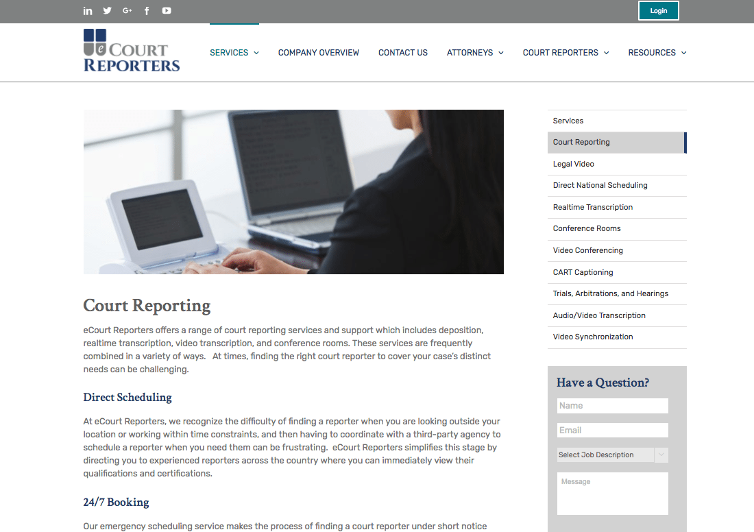 eCourt Reporters services webpage