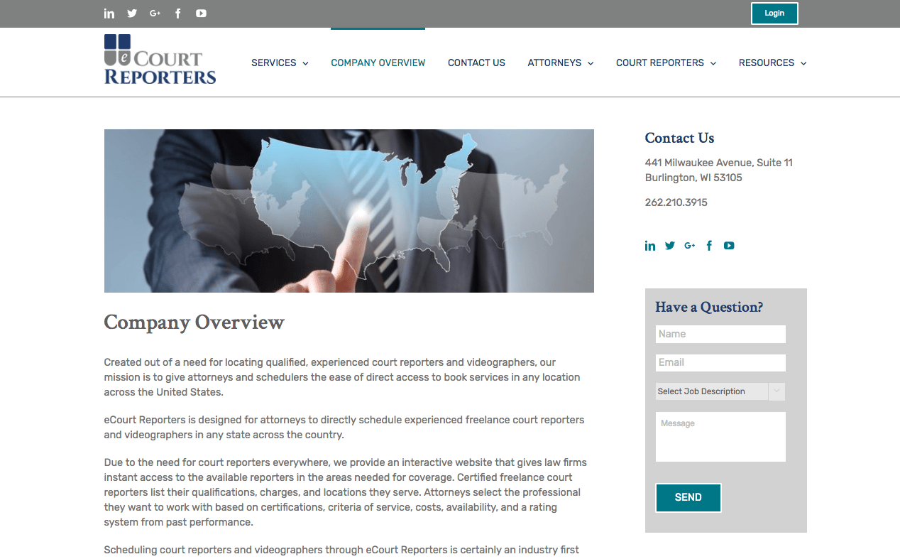eCourt Reporters Company Overview webpage