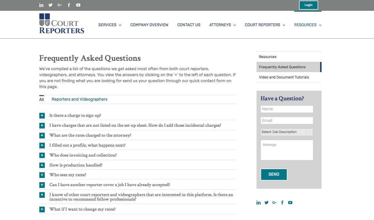 eCourt Reporters FAQ webpage